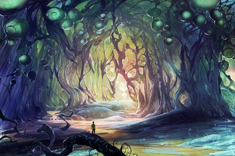 Ilustraciones del ejemplo de la fantasía de Digitaces de una persona perdida en cuevas mágicas libre illustration