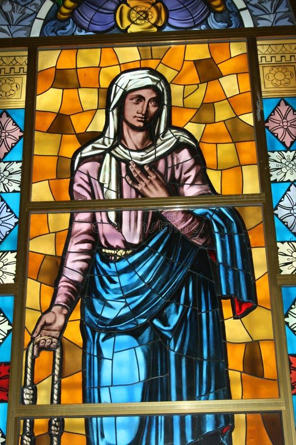 Ilustraciones del vidrio manchado en el peregrinaje Tindari Sicilia imagenes de archivo