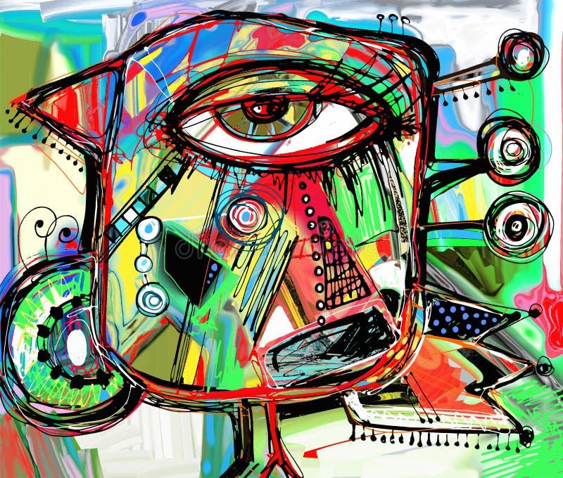 Ilustraciones digitales abstractas de la pintura del pájaro del garabato ilustración del vector