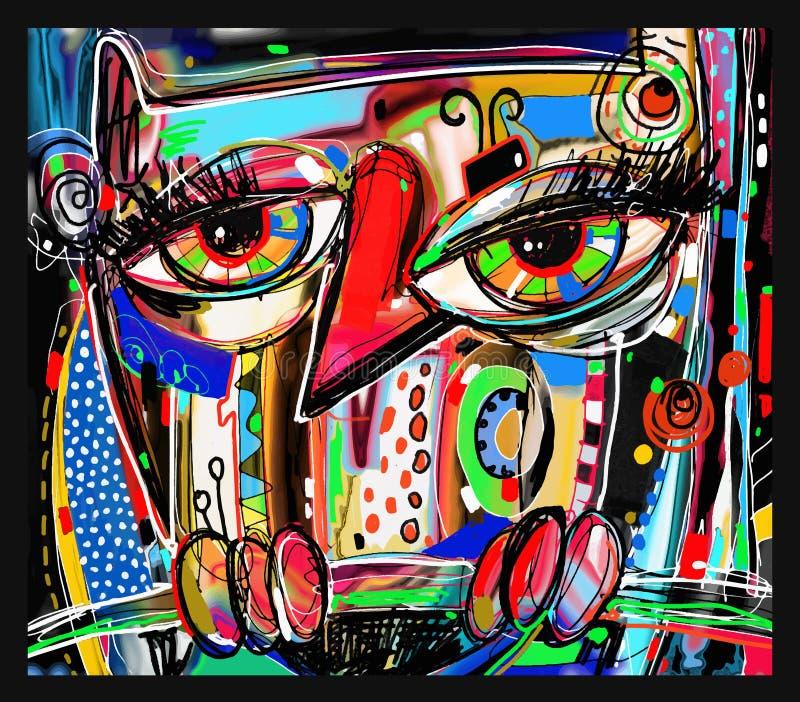 Ilustraciones digitales abstractas originales de la pintura del búho del garabato stock de ilustración