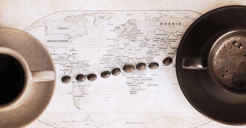 Ilustraciones en estilo retro, café en todo el mundo imagen de archivo libre de regalías