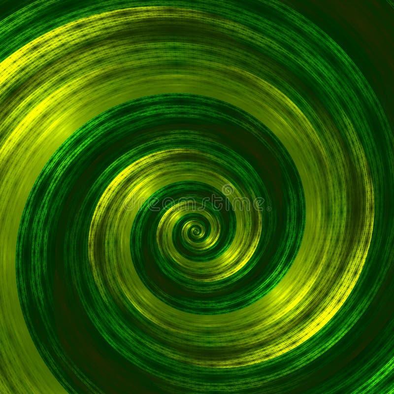 Ilustraciones espirales verdes abstractas creativas Ejemplo hermoso del fondo Imagen monocromática del fractal Diseño de los elem stock de ilustración