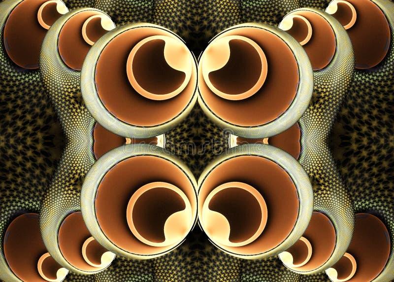 Ilustraciones generadas por ordenador únicas abstractas del modelo de las bolas del fractal 3d encima de uno a ilustración del vector