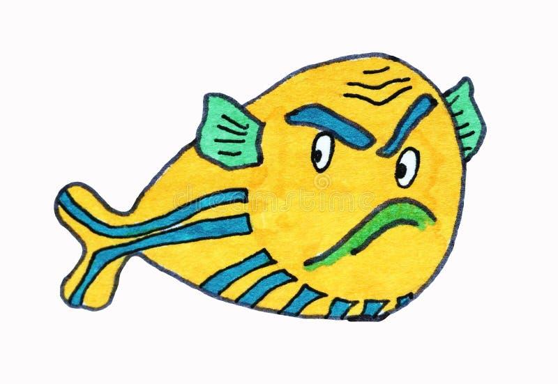 ilustraciones Habitantes del mar, pescados animais del kawaii stock de ilustración