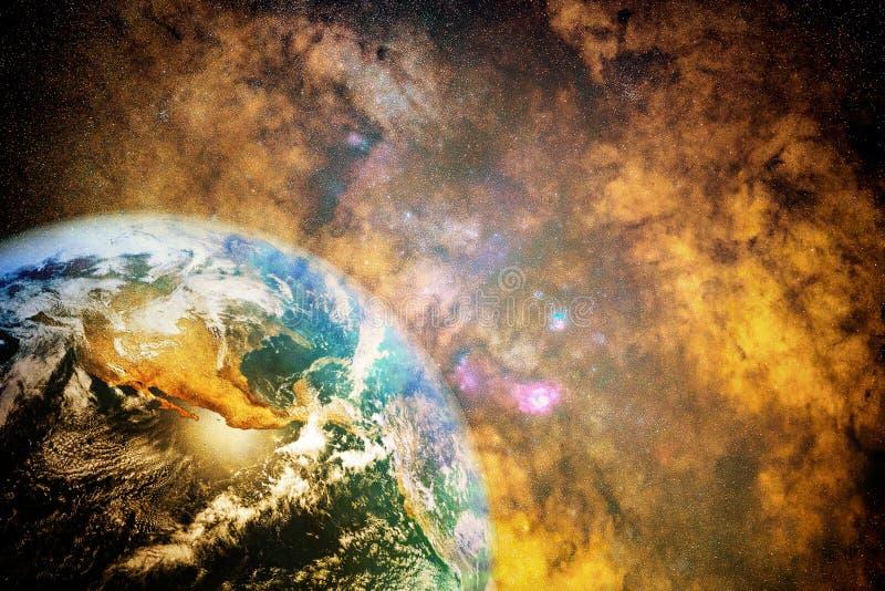 Ilustraciones lisas multicoloras del planeta en un fondo de la galaxia de la nebulosa libre illustration