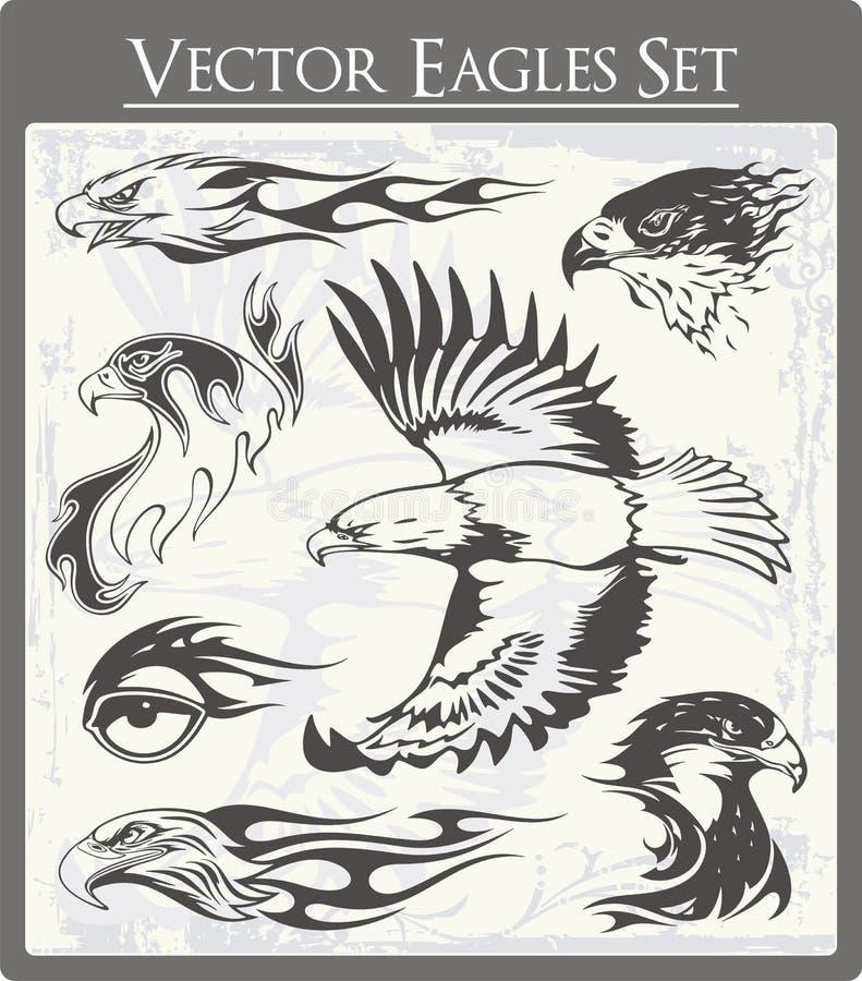 Ilustraciones llameantes del águila fijadas stock de ilustración