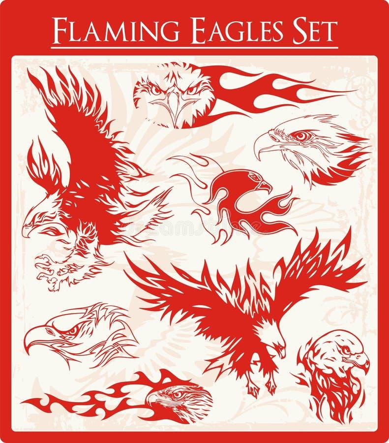 Ilustraciones llameantes del vector del águila fijadas ilustración del vector