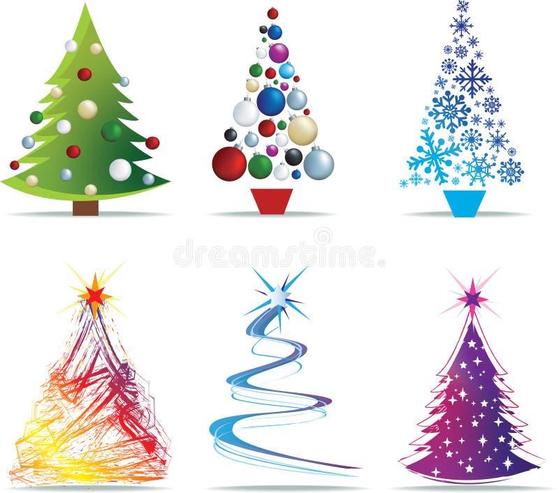 Ilustraciones modernas del árbol de navidad stock de ilustración