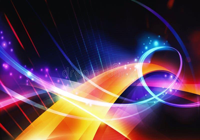 Ilustraciones modernas multicoloras artísticas de las formas curvadas de Digitaces del extracto que brillan intensamente stock de ilustración