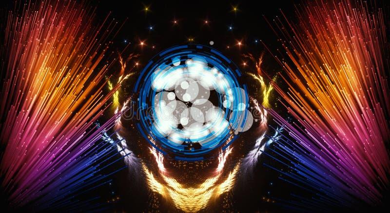 Ilustraciones modernas multicoloras del extracto artístico con los haces coloridos de un extracto de luz en el lado stock de ilustración
