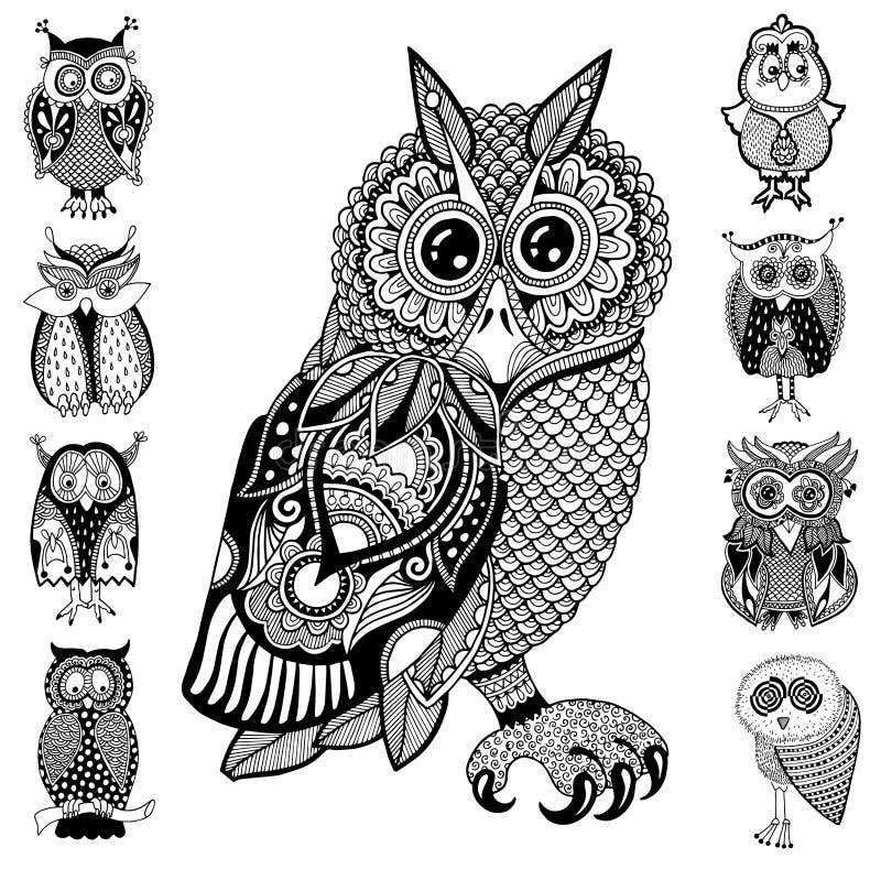 Ilustraciones originales del búho, dibujo de la mano de la tinta adentro ilustración del vector