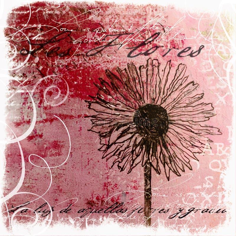 Ilustraciones pintadas a mano de la flor ilustración del vector