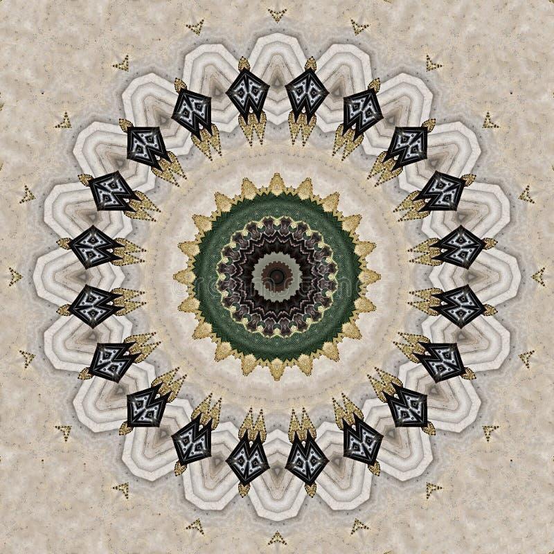Ilustraciones sicilianas hechas a mano del bordado vistas a través de caleidoscopio ilustración del vector