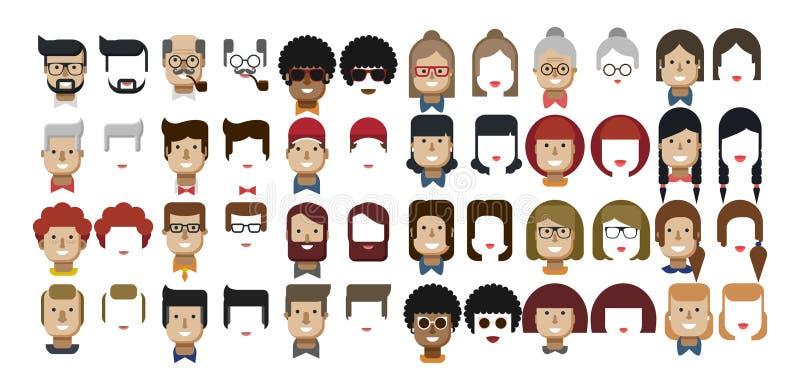 Ilustracj ustaleni avatars kobiety i samiec twarze ilustracja wektor