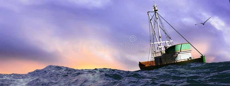 ilustracja łodzi rybackiej żeglowanie ilustracja wektor