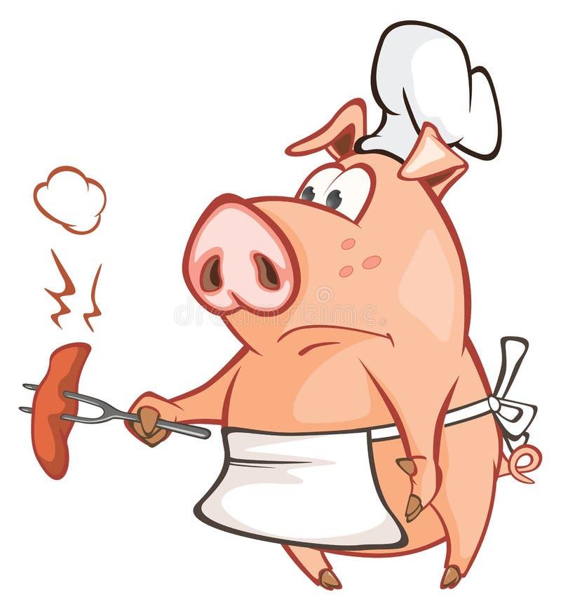 Ilustracja śliczna świnia tła postać z kreskówki zuchwałych ślicznych psów szczęśliwa głowa odizolowywał uśmiechu biel ilustracji