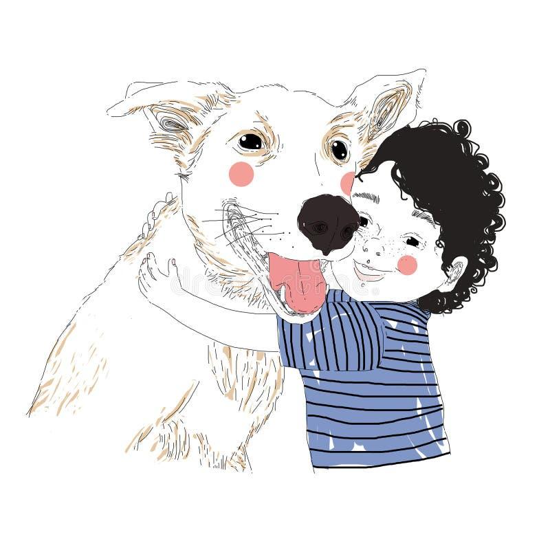 Ilustracja śliczna chłopiec ściska jego przyjaciela dużego psa Prawdziwy przyjaźń koncert Przewożenie zwierzęcia domowego pojęcie ilustracja wektor