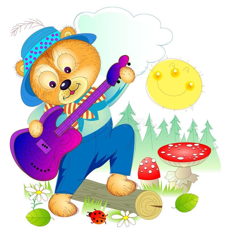 Ilustracja śliczna mała niedźwiadkowa bawić się gitara w lasowej pokrywie dla dziecko książki Pociągany ręcznie wektorowy kresków ilustracja wektor