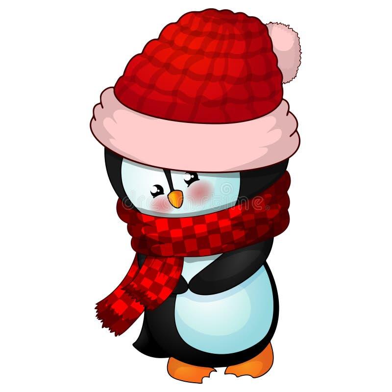 Ilustracja Śliczny Bożenarodzeniowy pingwin ilustracja wektor