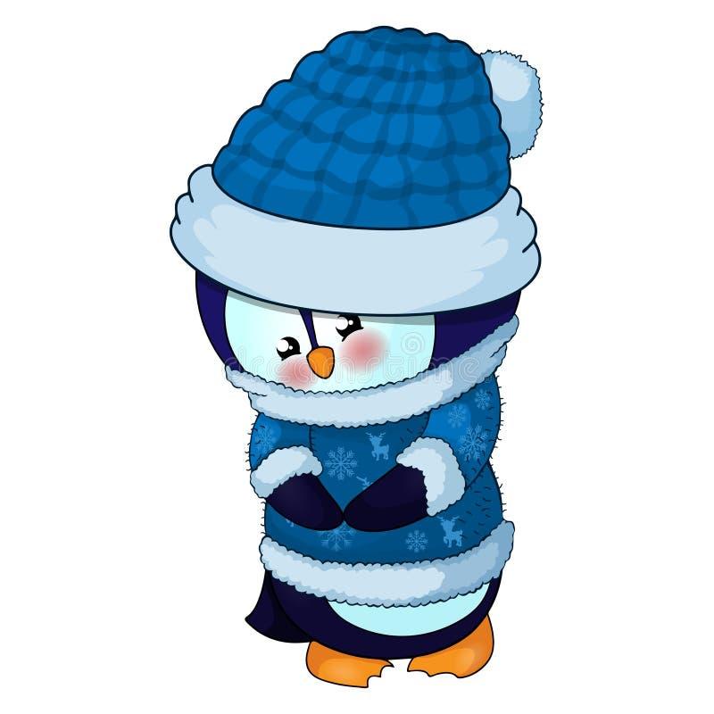 Ilustracja Śliczny Bożenarodzeniowy pingwin w błękitnym pulowerze i kapeluszu royalty ilustracja