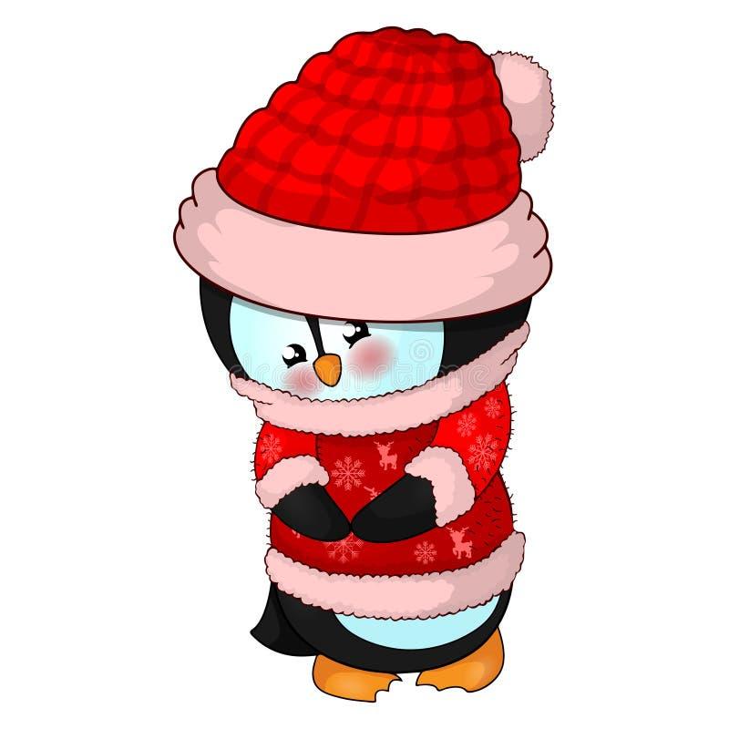 Ilustracja Śliczny Bożenarodzeniowy pingwin w czerwonym pulowerze i kapeluszu royalty ilustracja