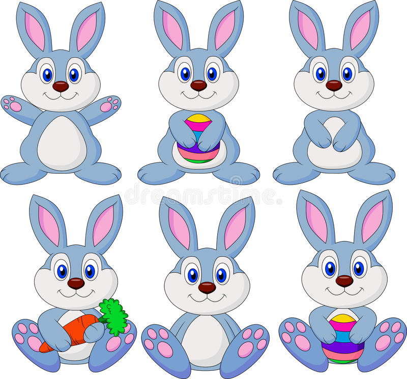 Śliczny królik kreskówki set royalty ilustracja