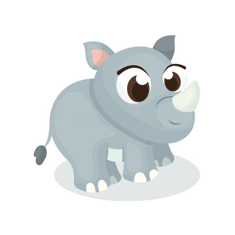 Ilustracja Śliczny nosorożec charakter z kreskówka stylem zdjęcie stock