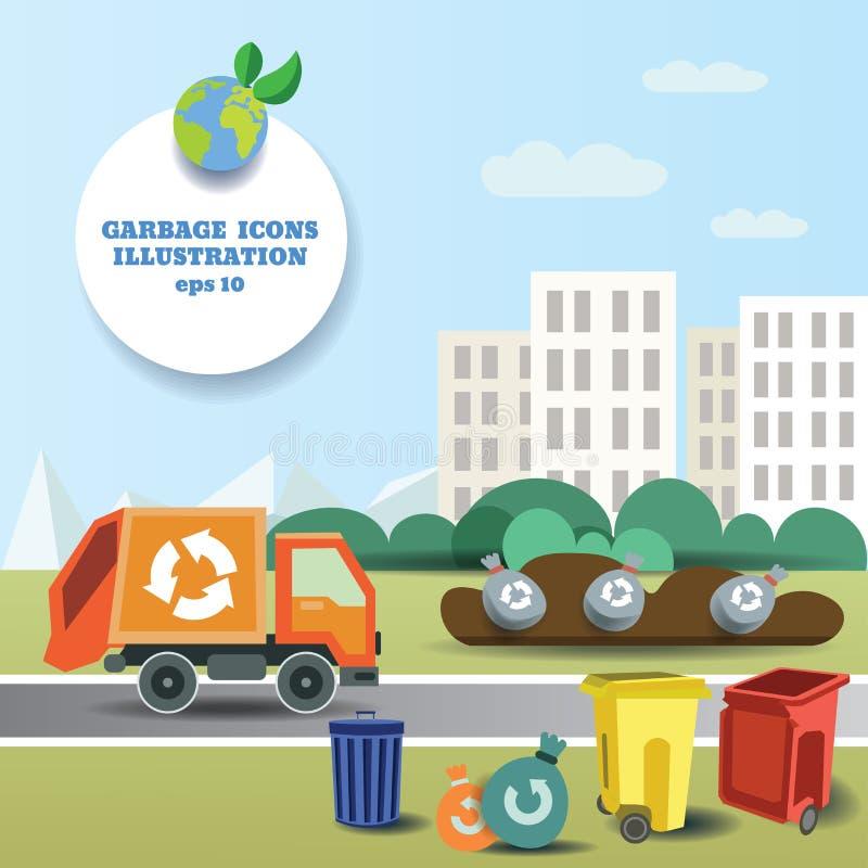 Ilustracja śmieciarski transport niemy blisko miasta i ikony kolekci ilustracji
