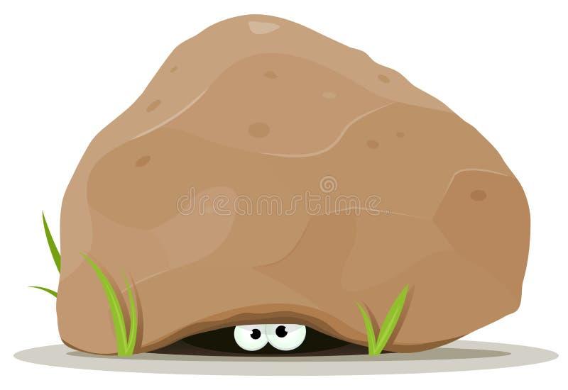 Kreskówki zwierzę ono Przygląda się Pod Dużym kamieniem ilustracji