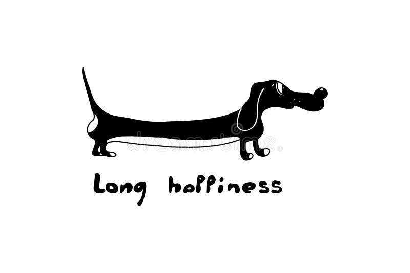 Ilustracja śmieszny jamnika pies postać i inskrypcja ręcznie tęsk szczęście Stosowny dla koszulek, weterynaryjne kliniki ilustracja wektor