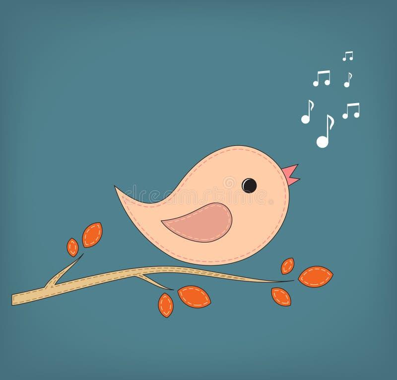 Ilustracja śmieszny kreskówka ptak na gałąź ilustracja wektor