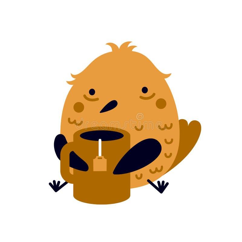 Ilustracja śmieszny zmęczony lub chory ptak z dużą filiżanką herbata ilustracji