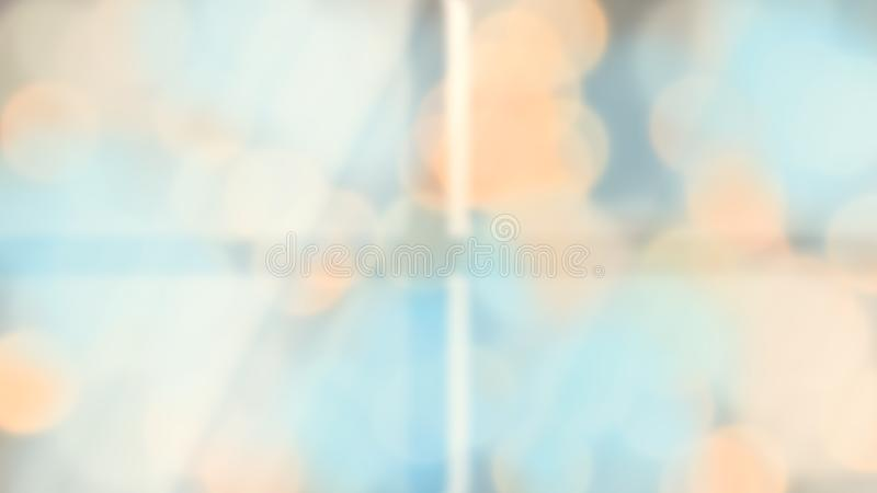 Ilustracja światło przecieki przez okno w ranku z promieni światłami i plama okręgu bokeh pomarańczowym błękitnym tłem obraz stock