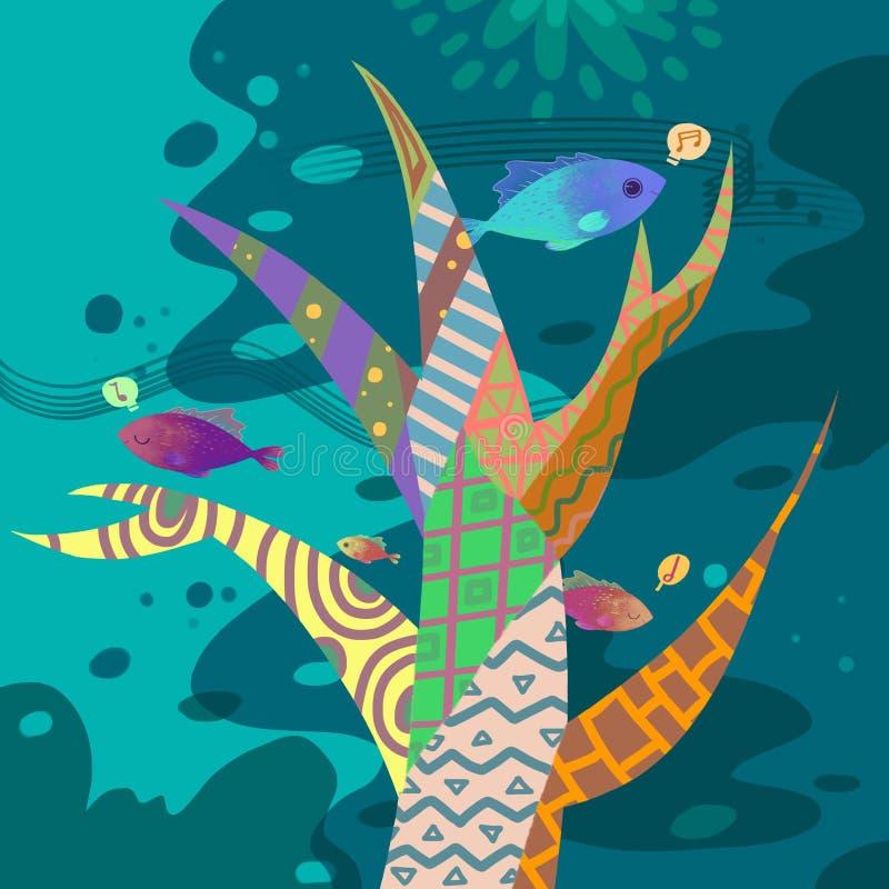 Ilustracja świat Children wyobraźnia: Kolorowy Muzyczny drzewo pod morzem ilustracja wektor