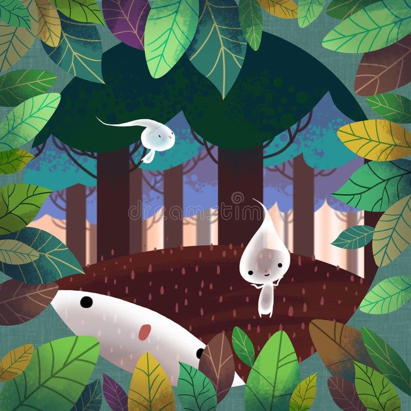 Ilustracja świat Children wyobraźnia: Lasowy duch ilustracji