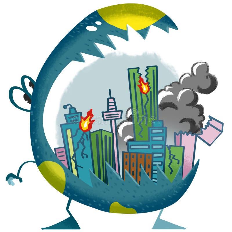 Ilustracja świat Children wyobraźnia: Miasto w potwora usta ilustracja wektor