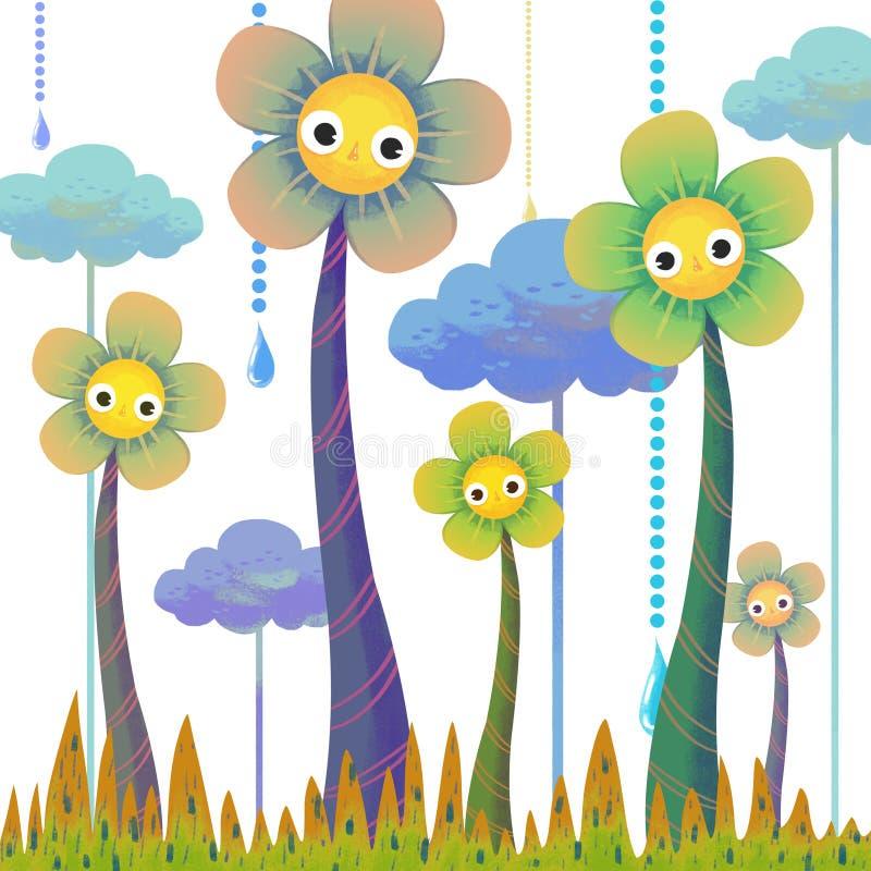 Ilustracja świat Children wyobraźnia: Wysocy kwiaty ilustracja wektor