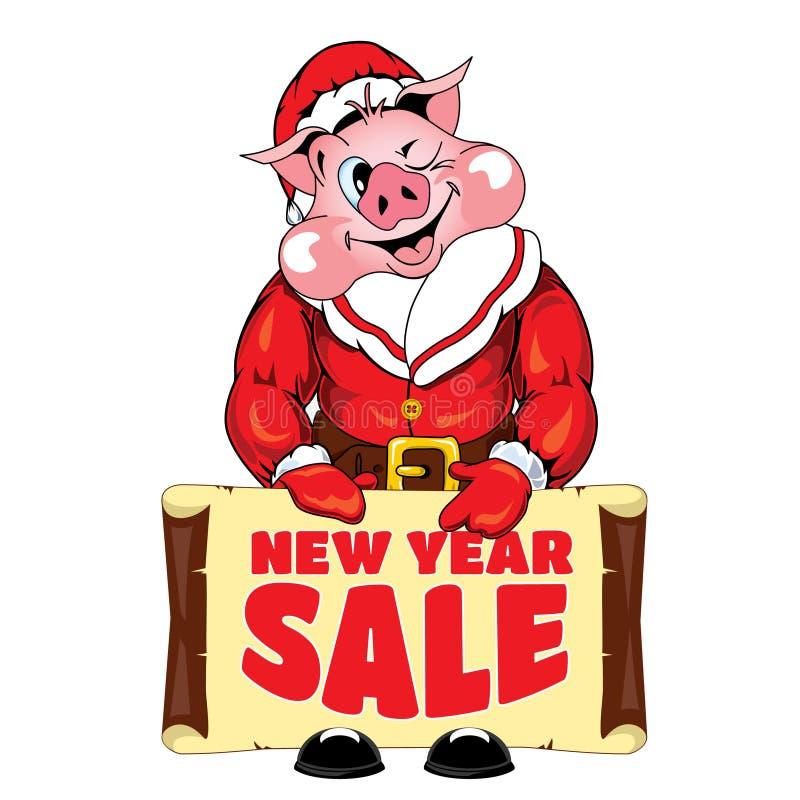 Ilustracja świnia z sztandarem z wpisową «nowy rok sprzedażą « obraz royalty free
