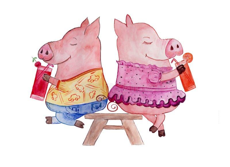 Ilustracja, świnie pije sok, malującego w akwareli ilustracja wektor