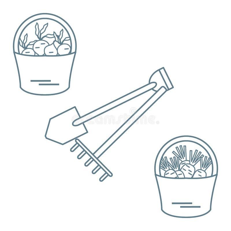 Ilustracja żniwo: łopata, świntuch i dwa wiadra marchewki, royalty ilustracja
