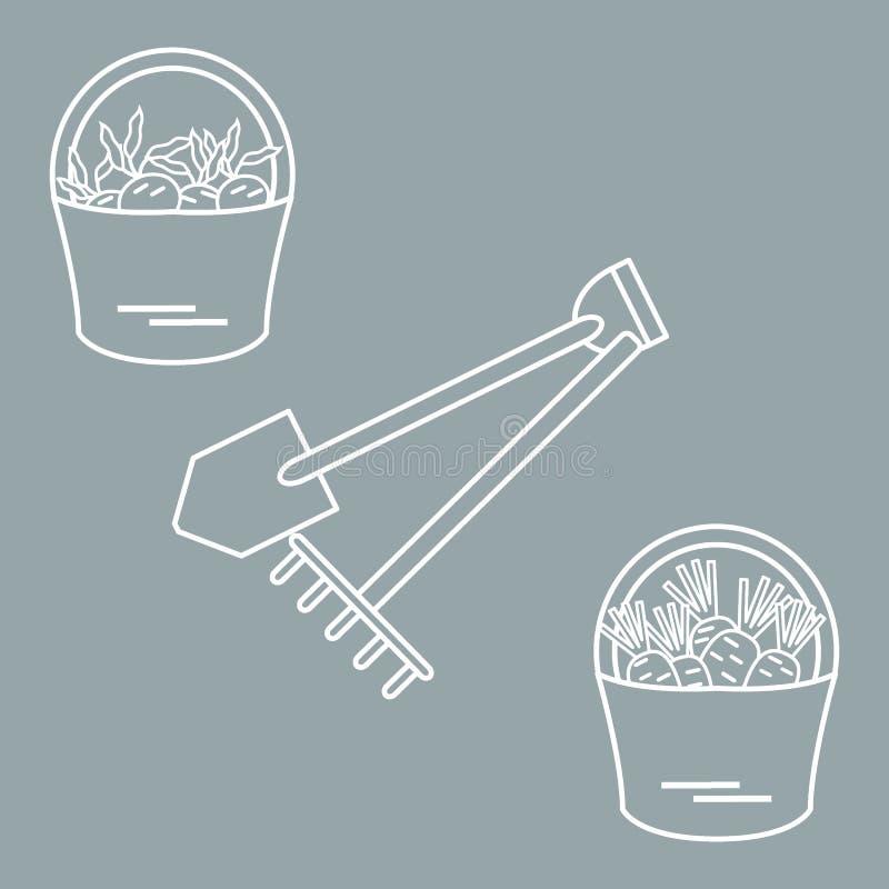 Ilustracja żniwo: łopata, świntuch i dwa wiadra marchewki, ilustracji