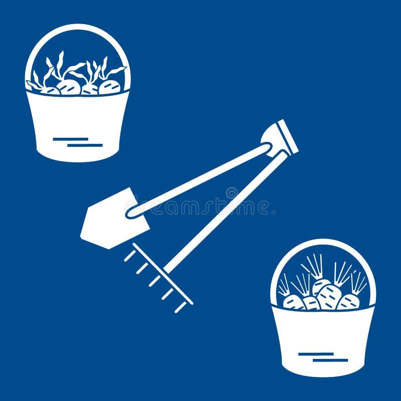 Ilustracja żniwo: łopata, świntuch i dwa wiadra marchewki, ilustracja wektor