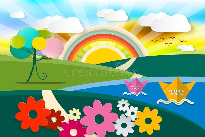 ilustracja abstrakcjonistyczny krajobraz ilustracji