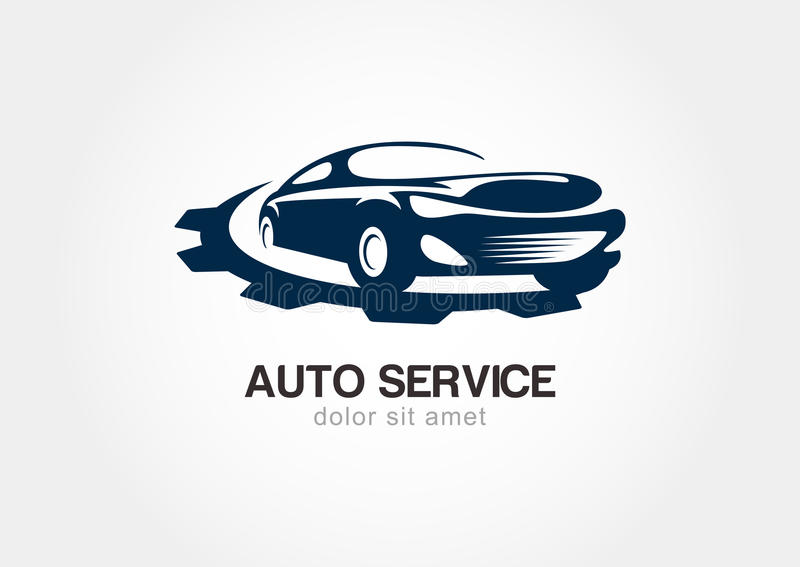 Ilustracja abstrakcjonistyczny sportowy samochód z przekładni cogs kuli ziemskiej loga wektoru sieć royalty ilustracja