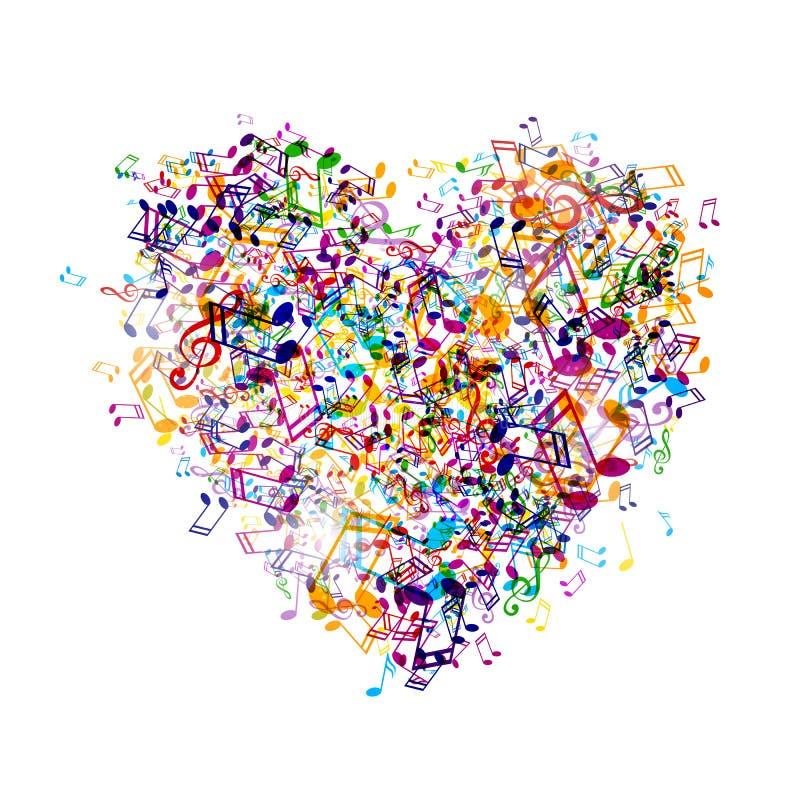 Muzyczny serce ilustracja wektor