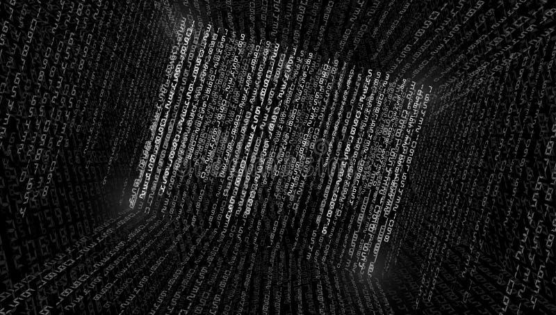 ilustracja abstrakcyjna Wektor leje się binarnego kodu tło zdjęcia stock