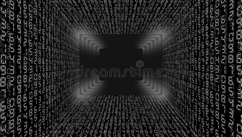 ilustracja abstrakcyjna Wektor leje się binarnego kodu tło obraz stock