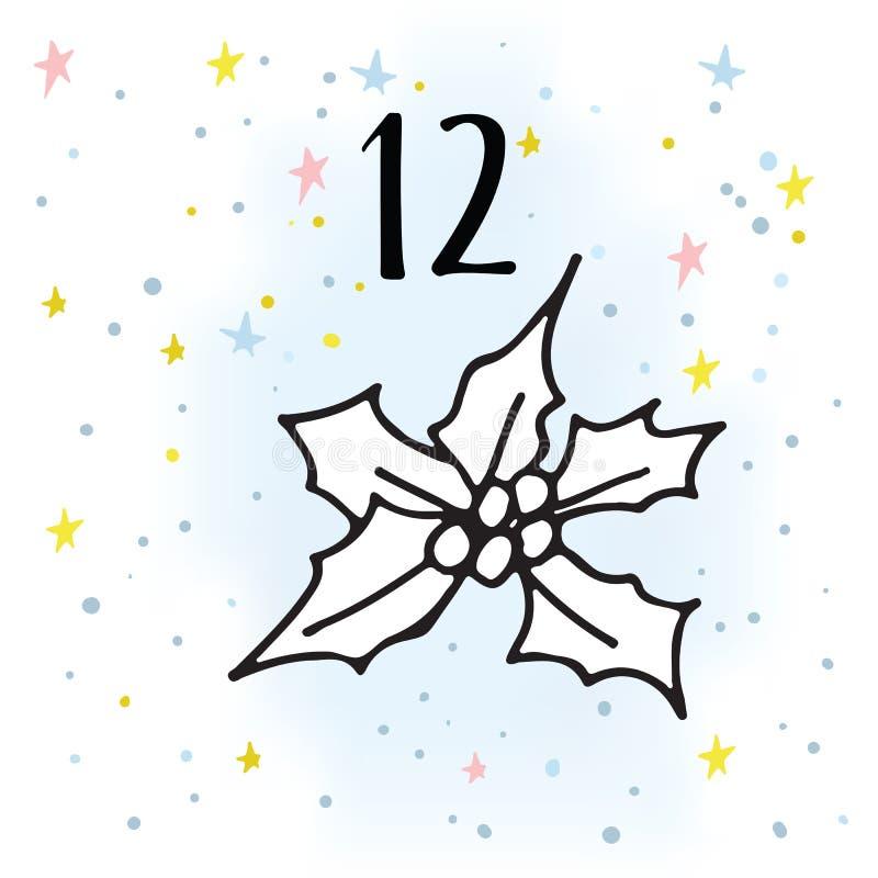 Ilustracja Adwentowy kalendarz dla Bożenarodzeniowego czekania ilustracji