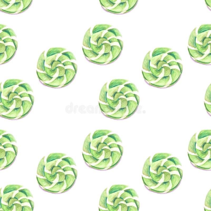 Ilustracja akwarela wzoru zieleni karmel royalty ilustracja