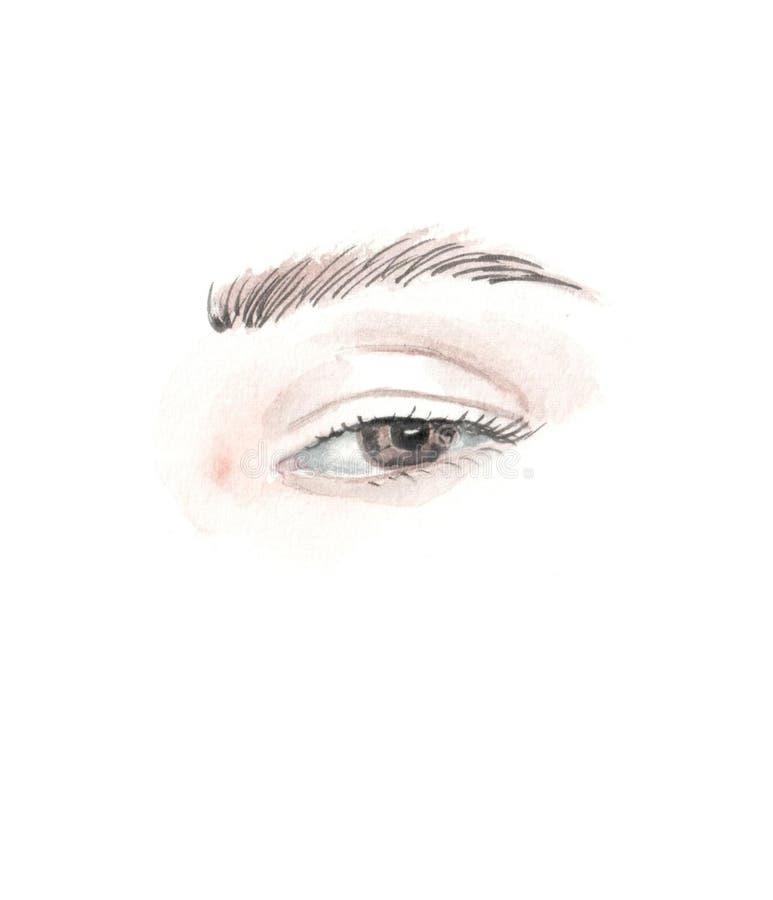 Ilustracja akwareli oczy ilustracja wektor